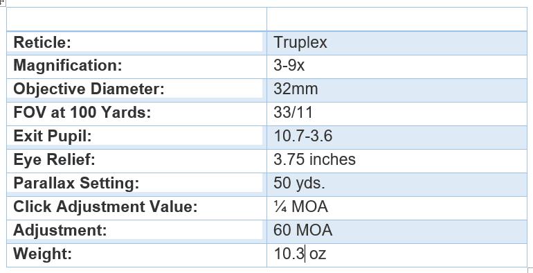 Simmons Truplex .22 Mag Riflescope specifications