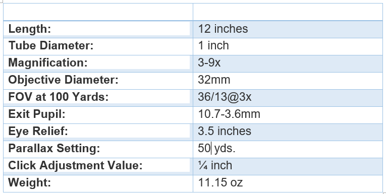 BARSKA 3-9x32 Plinker-22 specifications